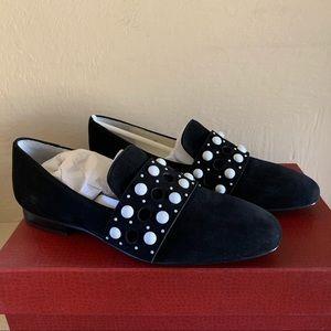 Donald Pliner Lin Embellished Black & White Loafer